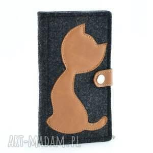intrygujące portfele portfel filcowy ze skórzanym kotem