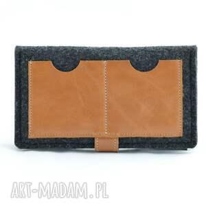 filc portfele portfel filcowy ze skórzanym kotem