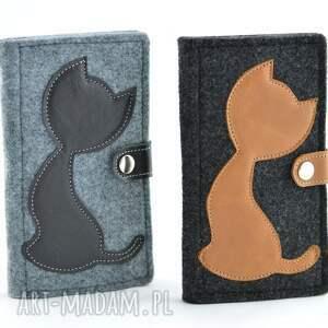 intrygujące portfele filc portfel filcowy ze skórzanym kotem