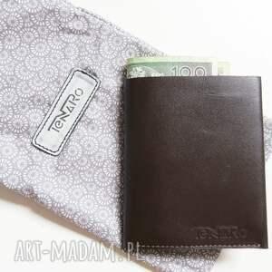 unikatowe portfele rękodzieło portfel męski brązowy