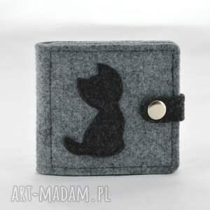 ciekawe portfele portfel - mini z kotem - szary