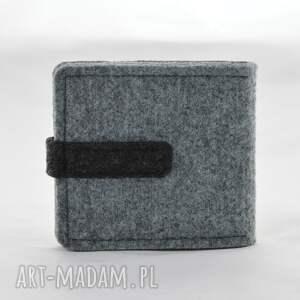 portfele: Portfel - mini z kotem - szary i grafit filcowy