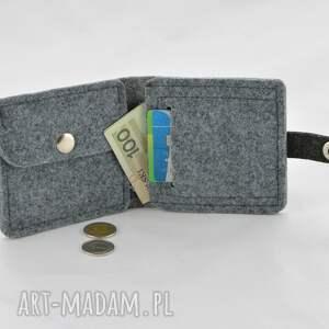portfele: Portfel - mini z kotem - szary i grafit portmonetka