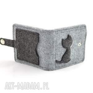 wyjątkowe portfele portfel mini z kotem - filc