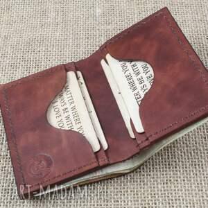 brązowe portfele portfelik portfel na karty z miejscem