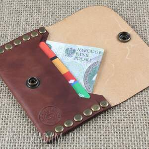 brązowe portfele portfel nitowany
