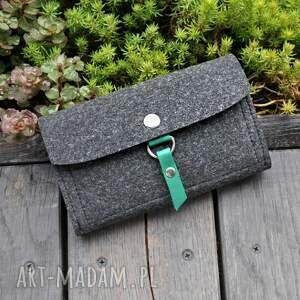 czarne portfele filc portfel z filcu - grafitowy