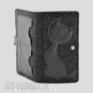 czarne portfele kot portfel z kotem grafit - midi