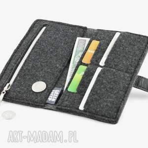 skóra portfele portfel z kotem grafit - midi