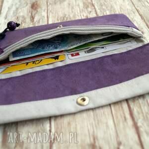 fioletowe portfele portmonetka portfelik z ekozamszu