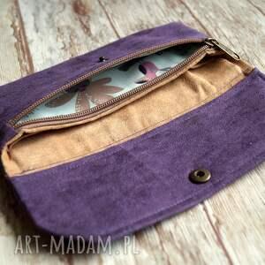 fioletowe portfele portfel portfelik z ekozamszu