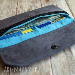 portfel portfele turkusowe portfelik z ekozamszu