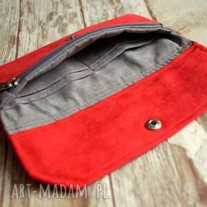 czerwone portfele portfel portfelik z ekozamszu