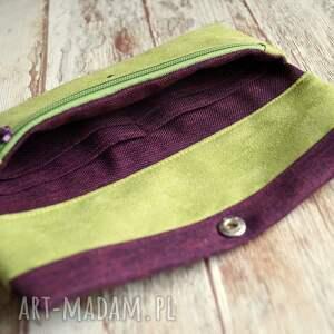 portmonetka portfele fioletowe portfelik z ekozamszu
