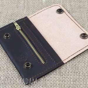 brązowe portfele portfel portfelik z kieszonką na suwak