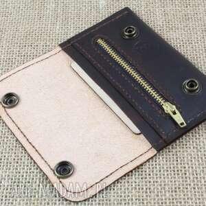 skóra portfele portfelik z kieszonką na suwak