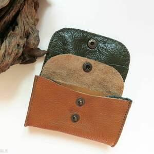 TENARO portfele: Portmonetka skórzana mini z zatrzaskiem brązowa - Handmade