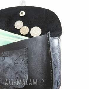 ciekawe portfele portfel portmonetka skórzana czarna