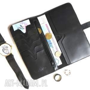 czarne portfele skóra portmonetka z paskiem z wzorem