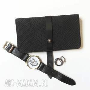 portfele skóra portmonetka z paskiem z wzorem