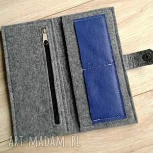 ręcznie zrobione portfele portfel wallet gray & blue leather