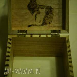 niepowtarzalne pudełka pyrography kocie puzderko - drewniane pudełko