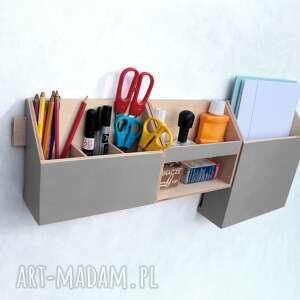 przybornik biurkowy pudełka organizer - zestaw na ścianę