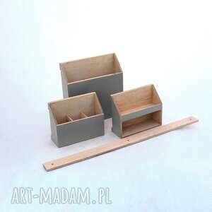 pudełka przybornik biurkowy organizer - zestaw na ścianę