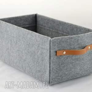 pojemnik pudełka szare na płyty dvd ze skórzaną