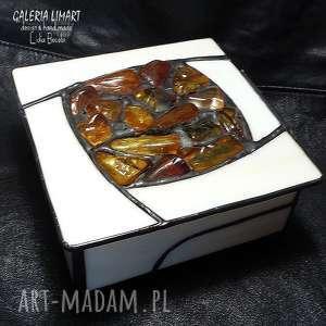 białe pudełka bursztyn prezent luksusowy, szkatułka hand