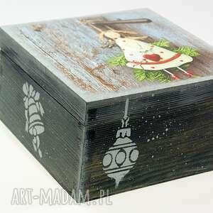 upominki świąteczne anioł szkatułka drewniana