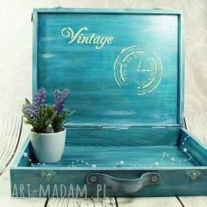 niekonwencjonalne pudełka walizka wspomnień - turkusowe