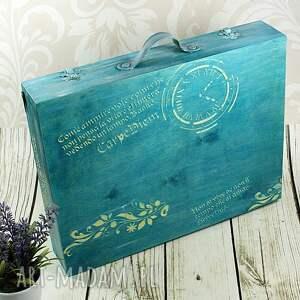 niekonwencjonalne pudełka vintage walizka wspomnień - turkusowe