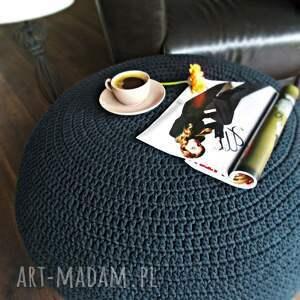 czarne sznurek bardzo duża pufa - stolik
