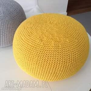Dwie pufy scandi 35x40cm - żółta i turkus