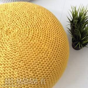 MIKKI Handmade Dwie pufy scandi 35x40cm - żółta i turkus zolty