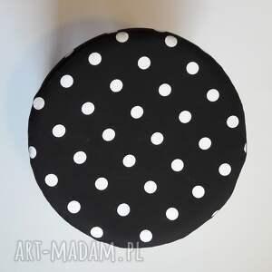 czarne stołek pufa białe grochy - 36
