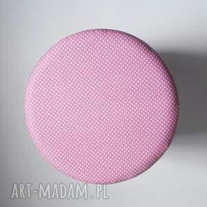 puf różowe pufa białe igiełki