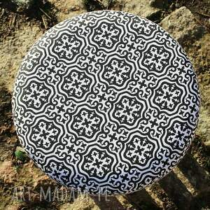 czarne pufy pufa czarna mozaika - 36 cm