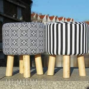 puf pufy białe pufa czarna mozaika - 36 cm