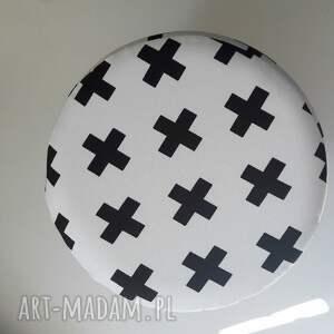 białe pufy pufa czarne krzyżyki - 36 cm