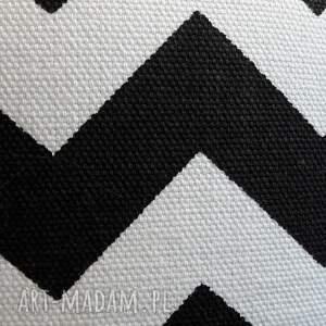 białe pufy pufa czarny zygzak - 36 cm