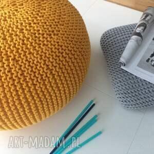 handmade pufa india 30x50, cytrynowa