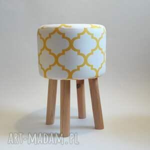hand-made pufy puf pufa koniczyna maroco biało -żółta