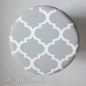 szare pufy stołek pufa koniczyna maroco szaro - biała