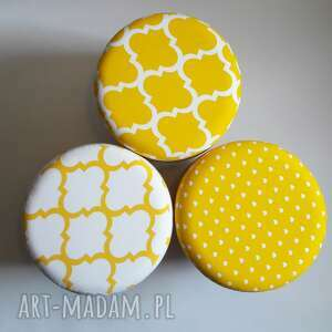 białe pufy stołek pufa koniczyna maroco żółto - biała