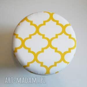 puf żółte pufa koniczyna maroco biało -żółta