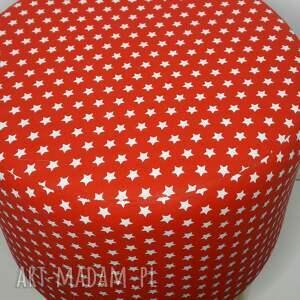 puf pufy czerwone pufa małe białe gwiazdki - 36 cm