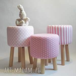 różowe pufy puf pufa grochy 2 - 45 cm