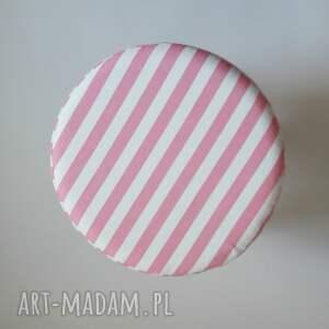 białe pufy taboret pufa różowe paseczki - 36 cm